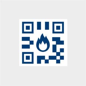 QRコードと火のアイコン